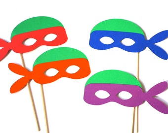 Turtle Photo Booth Props - set of 4 Turtle Masks