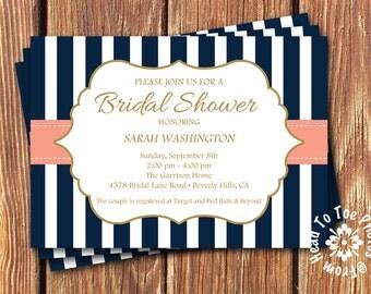 Peachy Beach Bridal Shower Invitations