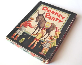 Vintage Donkey Party Pin the Tail on the Donkey Game, Whitman Publishing