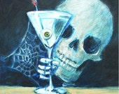 Very Dry martini and funny skull image