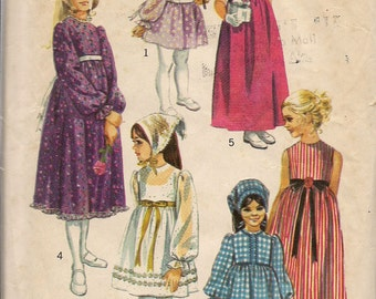 1970 Sewing Pattern Simplicity 9133 girls dress in three lengths and scarf size 4