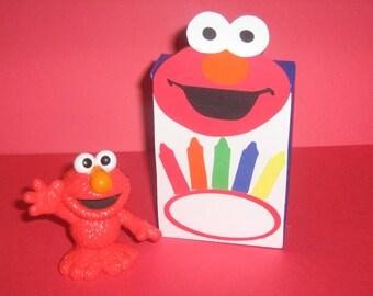 Elmo crayon box, favor box, Sesame street birthday, Elmo birthday, party supplies