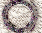 "Eyeglass Chain Purple Multi Shades Glass Seed Beaded with Swarovski Crystal Accents 28"" Handmade in USA Light Strong"