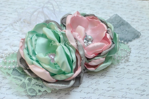 Baby Headband, Baby Girl Headband, Toddler Headband, Girls Headband, Mint , Pink And Gray Headband