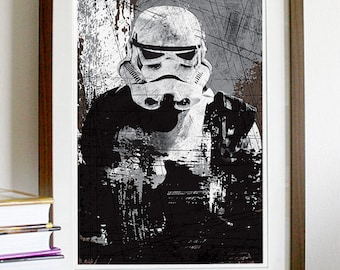 Star Wars All Black Stormtrooper Vintage Poster Print