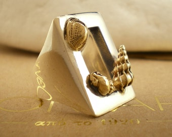 """Sterling Silver with 14K Gold Ring  """"Sea Shells on the Window"""""""