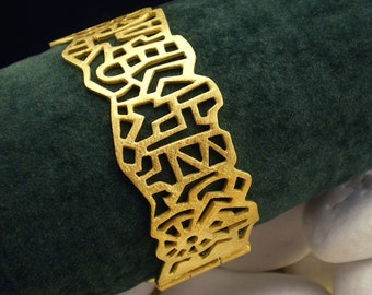 "Gold Plated Solid Sterling Silver Bracelet - ""City"""