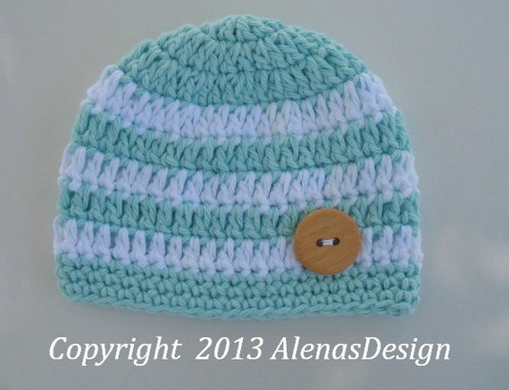 Crochet Baby Hat Patterns 0 3 Months : Crochet Pattern 079 - Crochet Stripe Baby Hat - 0-3, 3-6 ...