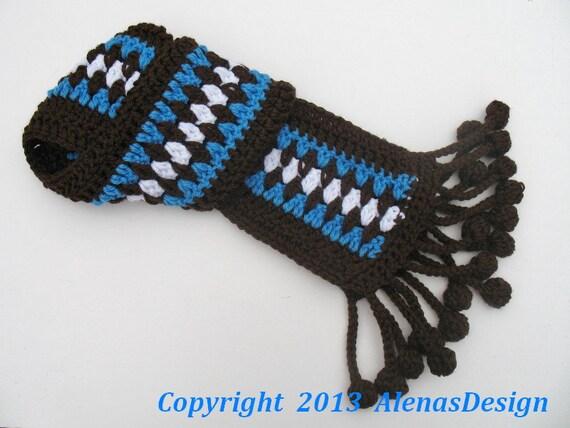 Crochet Pattern 086 - Fringe Bobble Brown & Blue Scarf - Toddler Child Adult - Girls Boys Women Men - Wrap Neck Warmer Ear Flap Hat Mittens