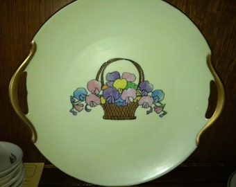 Vintage Artist signed Cake Dish with Hand Painted Basket with Flowers. Plate, Collectible