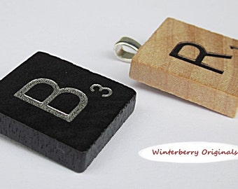Scrabble Pendant for Necklace - Your Choice of Black or Classic Woodgrain Letters