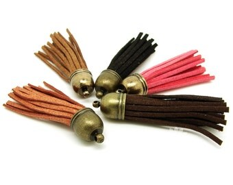 Random Mixed Tassel With Bronze Caps Made Of Manufactured Leather 56x12mm - 5Pcs - FO25773