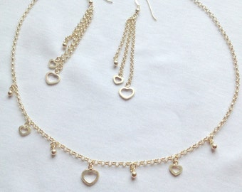 Silver Hollow Hearts Necklace