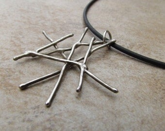 Sterling Silver - Modern - Twig - Pendant - Gifted - Celebrity - Necklace