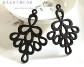 Painting Series - 37x52mm Pretty Black Bell Flower Wooden Charm/Pendant MH218 01