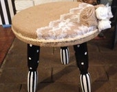 Burlap Covered Round Stool With Handmade Burlap and Lace Roses and Hand Painted Legs