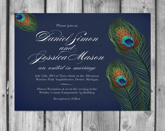 Peacock Feathers Wedding Invitation Set