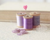 Purple Threads- Vintage Wooden Thread Spools and Buttons Photo- Sewing Room Decor- Still Life Photograph- Purple Lavender- 8x10 Print