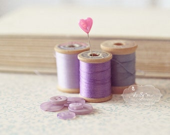 Vintage Thread Spools Photo, Still Life Photography, Buttons and Thread Print, Sewing Room Decor, Purple Lavender Art, Notions Print, Sewing