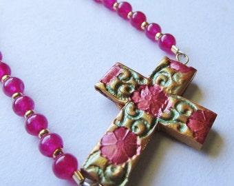 Ruby Red Flower Sideways Cross Bracelet