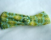 Aqua Argyle Stretch Turban Wrap Headband