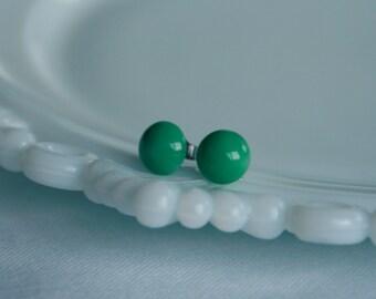 50% OFF SALE Emerald Vintage Glass Earrings