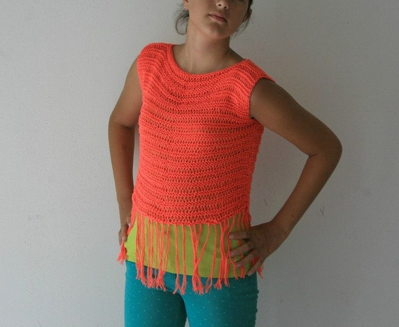 Neon Knit Sleeveless Top with Fringes - Sweater Lacy - Beach Cover Up - Cotton Blouse Summer Fashion - Chic Tank- Teens Accessories