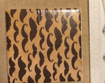 Black and Tan mustache Coaster - coasters wedding shower tile coaster stone coaster drink coaster