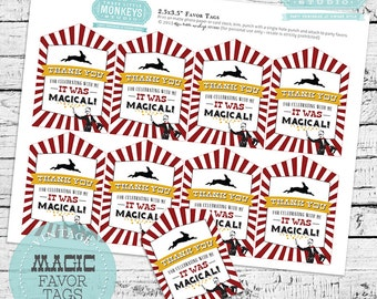 Vintage Magic Birthday Favor Tags - INSTANT DOWNLOAD