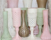 Blush Pink Mint Green Ivory Gold Shabby Chic Vase Set