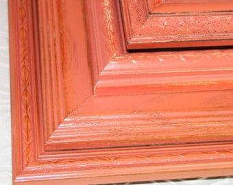 Set of Four Vintage Coral Hand Painted Distressed Frames