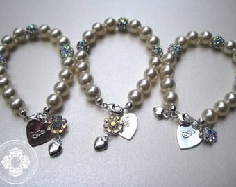 3 Personalized Flower girl Bracelets, Junior Bridemaids, Flower girls, Monogram, little girl, by Jewles Designs on etsy