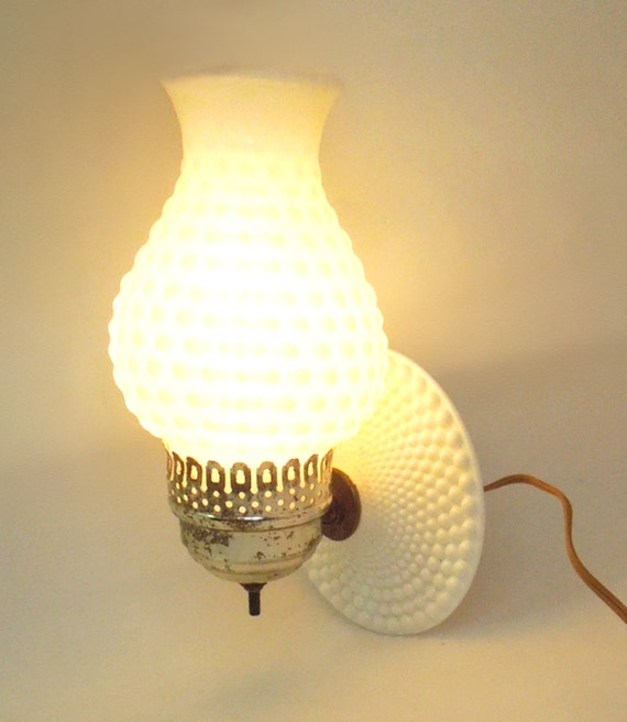 Vintage hobnail milk glass wall lamp wall sconce