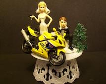 Motorcycle SUZUKI R GSX or Custom to your Bike Bride and Groom Funny Bike Wedding Cake Topper