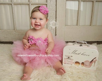Sweet Fancy Frills 3 Piece Set Includes Tutu, Headband, And Tutu Top In Bubble Gum Pink A Sweet Sweet Boutique ORIGINAL DESIGN