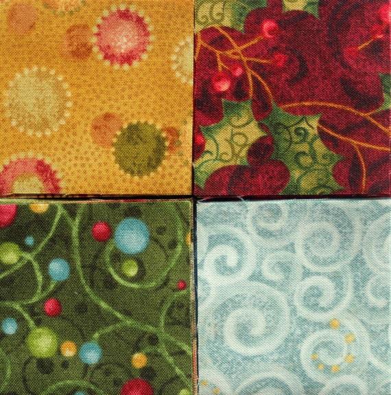 60 2 Inch Fabric Quilting Squares Nancy Halvorsen Christmas
