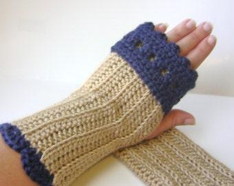 PDF Crochet Pattern, Fingerless Gloves with Cuff, Easy Crochet Glove Pattern