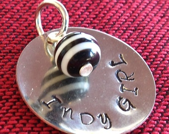 1 INDY Hand Stamped Racing Round Charm Striped Black Bead Nickle Silver Indianapolis Indy 500
