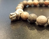 Zebra Jasper Buddha Bracelet 6, stretch bracelet, Prosperity Gift, Sister Brother gift, Unisex gift