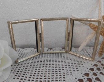 Vintage Gold Metal Frame Shabby Chic Paris French Victorian Home Decor Picture Photo Birthday Gift For Her Wedding Decoration 3.5 x 2.5 Trio