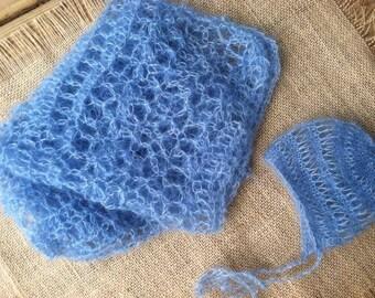 Newborn mohair bonnet with mini blanket