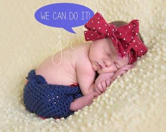 Crocheted Rosie Rivtor inspired  Bloomers and headband set  NEWBORN