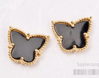 P400-G-BL// Gold Plated Framed Black Butterfly Pendant, 1pc