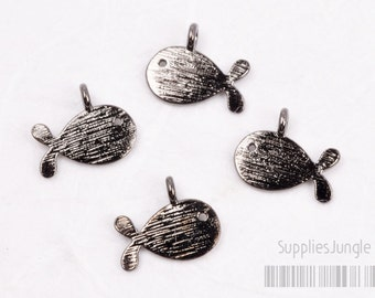 P422-01-GM// (High Quality) Glossy Gunmetal Plated Brush Finished Whale Charms, 4pcs