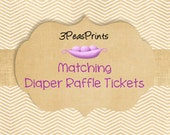 Coordinating Diaper Raffle Tickets to Match any Invitation in My Shop