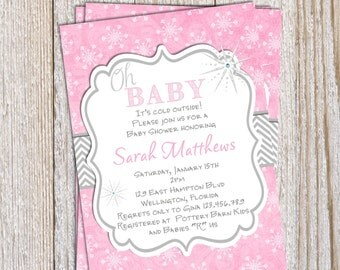 Winter Baby Shower Invitation Oh Baby Printable Invite