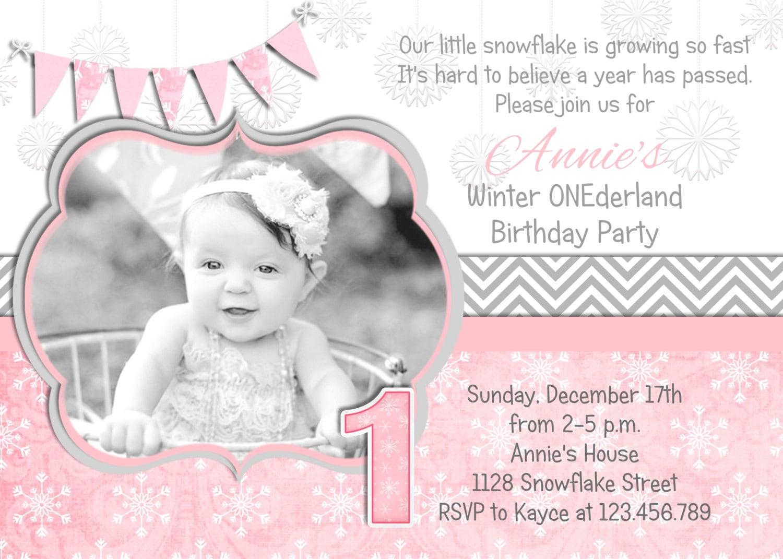 Winter ONEderland Birthday Invitation, Winter Wonderland, Snowflake ...