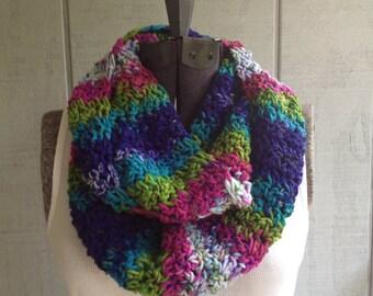 Crochet Multi Stripe Infinity Scarf