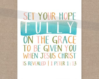 INSTANT DOWNLOAD Scripture Print for the wall - Set Your Hope watercolor aqua and green 8x10 bible verse wall art decor