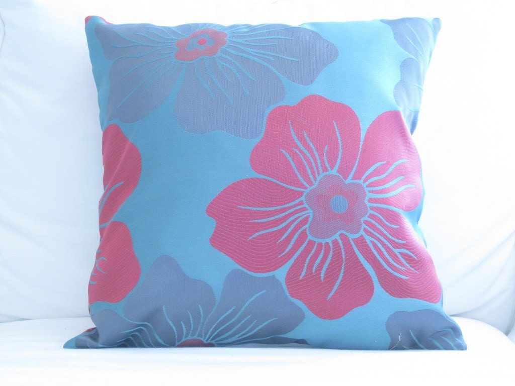 Decorative Pillows Tropical : Decorative Pillows Teal Magenta Tropical Floral by FineFreshDesign